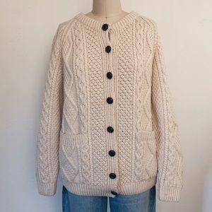 Vintage Cream Fisherman Cardigan Sweater